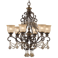 Norwalk 6 Light 28 inch Bronze Umber Chandelier Ceiling Light in Golden Teak Hand Cut