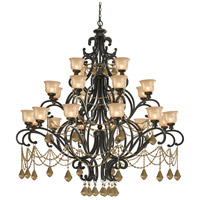Norwalk 24 Light 64 inch Bronze Umber Chandelier Ceiling Light in Hand Cut, Golden Teak (GT)