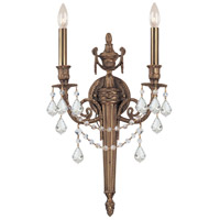 Crystorama 752-MB-CL-MWP Signature 2 Light 13 inch Matte Brass Wall Sconce Wall Light in Clear Hand Cut