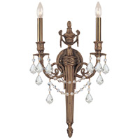 Crystorama Arlington 2 Light Wall Sconce in Matte Brass 752-MB-CL-SAQ