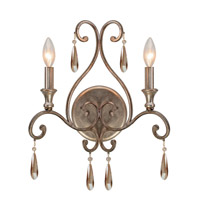 Crystorama Shelby 2 Light Wall Sconce in Distressed Twilight with Hand Cut Crystals 7522-DT