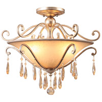 Crystorama Shelby 3 Light Semi-Flush Mount in Distressed Twilight with Hand Cut Crystals 7525-DT
