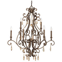 Crystorama Shelby 9 Light Chandelier in Distressed Twilight 7529-DT