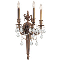 Crystorama 753-MB-CL-MWP Signature 3 Light 12 inch Matte Brass Wall Sconce Wall Light in Clear Hand Cut