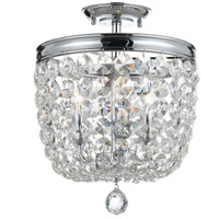 Archer 3 Light 12 inch Polished Chrome Semi Flush Mount Ceiling Light in Polished Chrome (CH), Clear Swarovski Strass