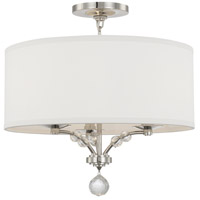 Mirage 3 Light 18 inch Polished Nickel Semi Flush Mount Ceiling Light