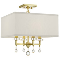 Paxton 4 Light 16 inch Antique Gold Semi Flush Mount Ceiling Light