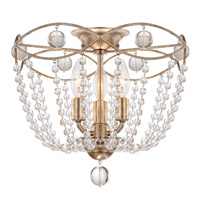 Waverly 3 Light 15 inch Distressed Twilight Semi Flush Mount Ceiling Light