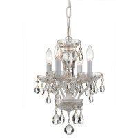 Crystorama Traditional Crystal 4 Light Chandelier in Wet White with Hand Cut Crystals 8374-WW-CL-MWP
