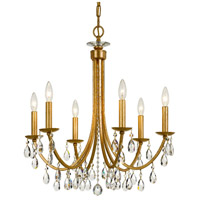Crystorama 8826-GA-CL-MWP Bridgehampton 6 Light 26 inch Antique Gold Chandelier Ceiling Light in Aged Brass (AG)