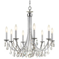 Crystorama 8828-CH-CL-MWP Bridgehampton 8 Light 28 inch Polished Chrome Chandelier Ceiling Light in Chrome (CH)