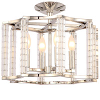 Carson 4 Light 16 inch Polished Nickel Semi Flush Mount Ceiling Light in Polished Nickel (PN)
