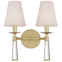 Crystorama 8862-AG Baxter 2 Light 12 inch Aged Brass Wall Sconce Wall Light in Aged Brass (AG)