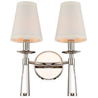 Crystorama 8862-PN Baxter 2 Light 12 inch Polished Nickel Wall Mount Wall Light in Polished Nickel (PN)