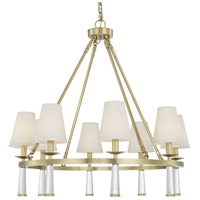 Crystorama 8867-AG Baxter 8 Light 32 inch Aged Brass Chandelier Ceiling Light
