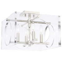 Drake 4 Light 15 inch Polished Nickel Semi Flush Mount Ceiling Light