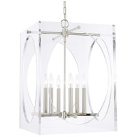 Crystorama 8876-PN Drake 6 Light 19 inch Polished Nickel Chandelier Ceiling Light