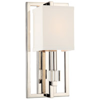Crystorama Dixon 1 Light Wall Sconce in Polished Nickel 8881-PN