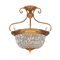 Signature 5 Light 18 inch Polished Brass Semi Flush Mount Ceiling Light in Clear Crystal (CL), Hand Cut, Polished Brass (PB)