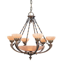 Crystorama Natural Alabaster 9 Light Chandelier in Bronze 895-BZ