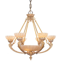 Crystorama Natural Alabaster 9 Light Chandelier in French White 895-WH
