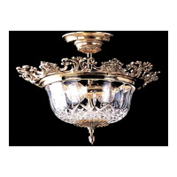 Crystorama Signature 3 Light Semi Flush Mount in Olde Brass 900-OB