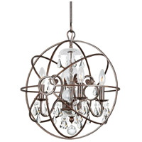 Solaris 4 Light 17 inch English Bronze Mini Chandelier Ceiling Light in English Bronze (EB), Clear Hand Cut