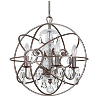 Solaris 4 Light 17 inch English Bronze Mini Chandelier Ceiling Light in English Bronze (EB), Clear Swarovski Strass