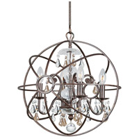 Solaris 4 Light 17 inch English Bronze Mini Chandelier Ceiling Light in Golden Shadow (GS), Hand Cut, English Bronze (EB)