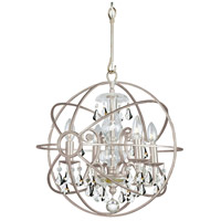 Solaris 4 Light 17 inch Olde Silver Mini Chandelier Ceiling Light in Olde Silver (OS), Clear Hand Cut