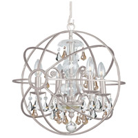 Solaris 4 Light 17 inch Olde Silver Mini Chandelier Ceiling Light in Golden Shadow (GS), Hand Cut, Olde Silver (OS)