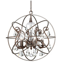 Solaris 5 Light 22 inch English Bronze Chandelier Ceiling Light in English Bronze (EB), Clear Swarovski Strass