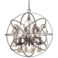 Solaris 5 Light 22 inch English Bronze Chandelier Ceiling Light in Golden Shadow (GS), Hand Cut, English Bronze (EB)
