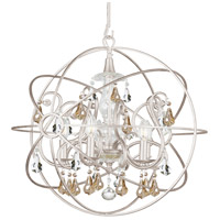 Solaris 5 Light 22 inch Olde Silver Chandelier Ceiling Light in Golden Shadow (GS), Hand Cut, Olde Silver (OS)