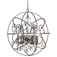 Crystorama Solaris 6 Light Chandelier in English Bronze 9028-EB-CL-MWP photo thumbnail