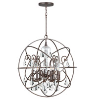 Crystorama 9028-EB-CL-MWP Solaris 6 Light 28 inch English Bronze Chandelier Ceiling Light in English Bronze (EB), Clear Hand Cut alternative photo thumbnail