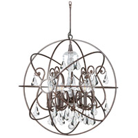Crystorama 9028-EB-CL-S Solaris 6 Light 28 inch English Bronze Chandelier Ceiling Light in English Bronze (EB), Clear Swarovski Strass