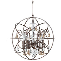 Solaris 6 Light 28 inch English Bronze Chandelier Ceiling Light in Golden Shadow (GS), Hand Cut, English Bronze (EB)