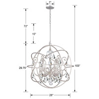 Crystorama 9028-OS-CL-MWP Solaris 6 Light 28 inch Olde Silver Chandelier Ceiling Light in Olde Silver (OS), Clear Hand Cut alternative photo thumbnail