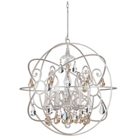 Solaris 6 Light 28 inch Olde Silver Chandelier Ceiling Light in Golden Shadow (GS), Hand Cut, Olde Silver (OS)