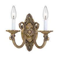 Crystorama Arlington 2 Light Wall Sconce in Antique Brass 9112-AB