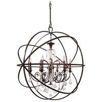 Solaris 6 Light 40 inch English Bronze Chandelier Ceiling Light in Hand Cut, English Bronze (EB)