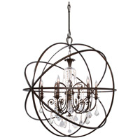 Solaris 6 Light 40 inch English Bronze Chandelier Ceiling Light in English Bronze (EB), Clear Swarovski Strass