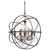 Crystorama Solaris 6 Light Chandelier in English Bronze with Swarovski Spectra Crystals 9219-EB-CL-SAQ