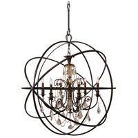Crystorama Solaris 6 Light Chandelier in English Bronze, Golden Teak, Hand Cut 9219-EB-GT-MWP photo thumbnail