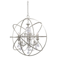 Solaris 6 Light 40 inch Olde Silver Chandelier Ceiling Light in Olde Silver (OS), Clear Hand Cut