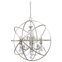 Solaris 6 Light 40 inch Olde Silver Chandelier Ceiling Light in Olde Silver (OS), Clear Swarovski Strass