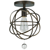 Crystorama 9220-EB_CEILING Solaris 1 Light 9 inch English Bronze Semi Flush Mount Ceiling Light in English Bronze (EB)