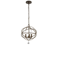 Crystorama 9225-EB Solaris 3 Light 13 inch English Bronze Mini Chandelier Ceiling Light in English Bronze (EB), 12.35-in Width