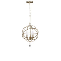 Solaris 3 Light 13 inch Olde Silver Mini Chandelier Ceiling Light in Olde Silver (OS)